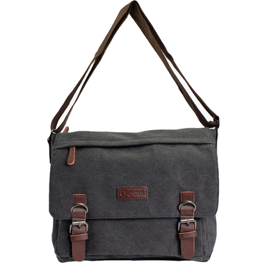 front of black double buckle canvas messenger bag by gk eurosport