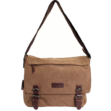 back of double buckle canvas messenger bag by gk eurosport