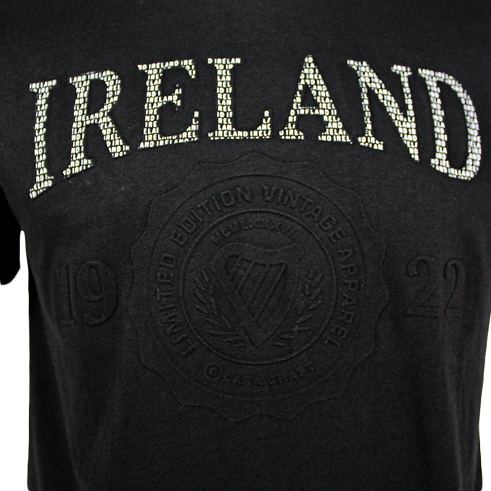 close up graphic of embossed black t-shirt by guinness