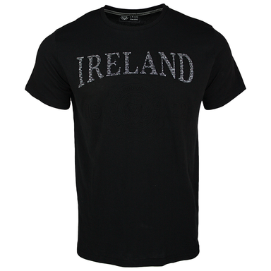 front of embossed black t-shirt by guinness