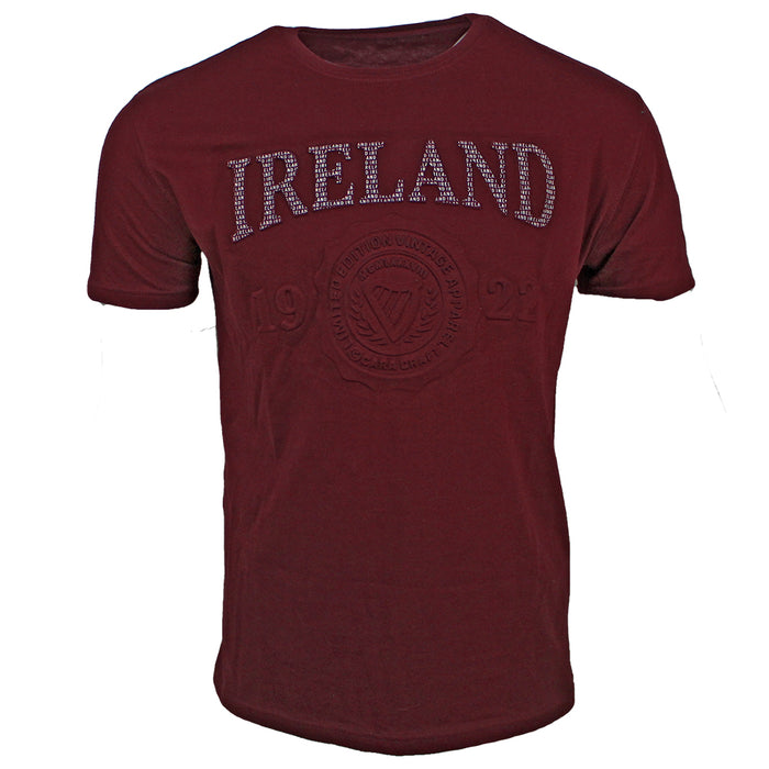 front of burgundy embossed ireland t-shirt