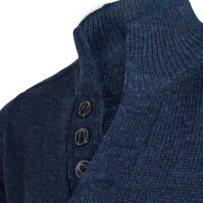 buttons close up of emerald isle indigo galway shawl collar sweater