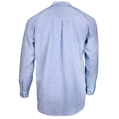 back of emerald isle blue pinstripe grandfather shirt by emerald isle