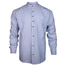 front of emerald isle blue pinstripe grandfather shirt by emerald isle