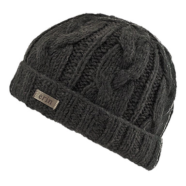 charcoal cable turn up beanie cap by erin knitwear