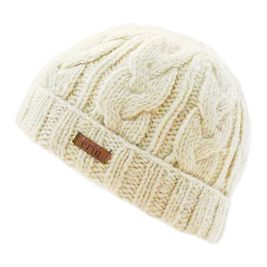 white cable turn up beanie cap by erin knitwear
