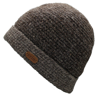 brown turn up wool crochet beanie by erin knitwear