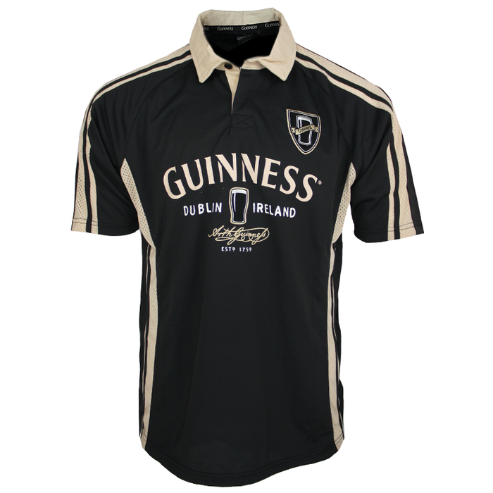 front of black dublin performance rugby polo