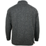 back of charcoal aran woollen mills full zip sweater cardigan