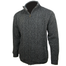 side view of charcoal aran woollen mills full zip sweater cardigan