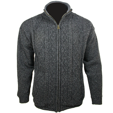 front of charcoal aran woollen mills full zip sweater cardigan
