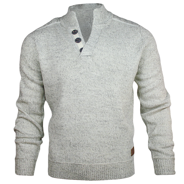 front of emerald isle winter white galway shawl collar sweater