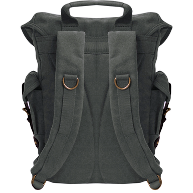 back of black euro-style canvas travelers backpack by gk eurosport