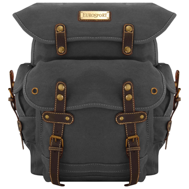 front of black euro-style canvas travelers backpack by gk eurosport