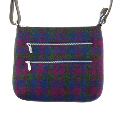 back of heather check harris tweed multi zip bag teviot by glena appin
