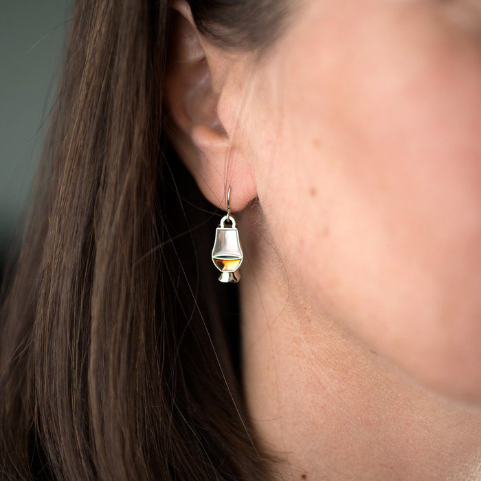 model of glencairn whiskey glass earrings