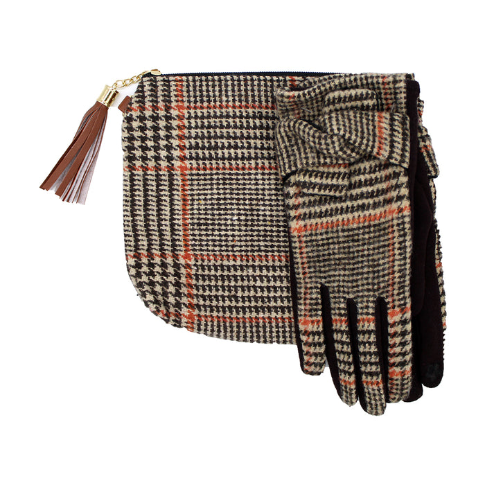 Elegant Pouch Bag with Wristlet and Matching Gloves