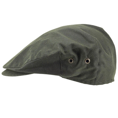 side view of green men's wax cap by hanna hats