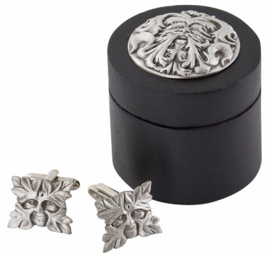 A E Williams Greenman Cufflinks with Wooden Box