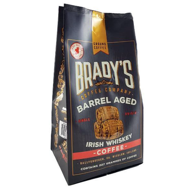 brady's ground coffee barrel aged irish whiskey coffee