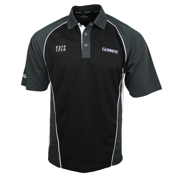 front of black and grey panelled performance golf jersey shirt by guinness