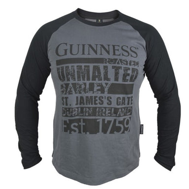 front of black raglan long sleeve tee by guinness