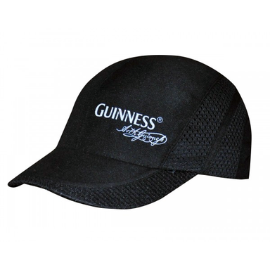 front of black sports cap hat by guinness