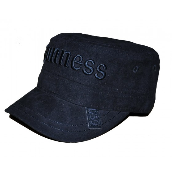 front of black suede effect cadet cap hat by guinness