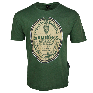 front of green distressed gaelic label t-shirt by guinness
