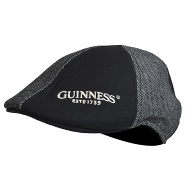 front logo of grey and black panelled ivy hat by guinness