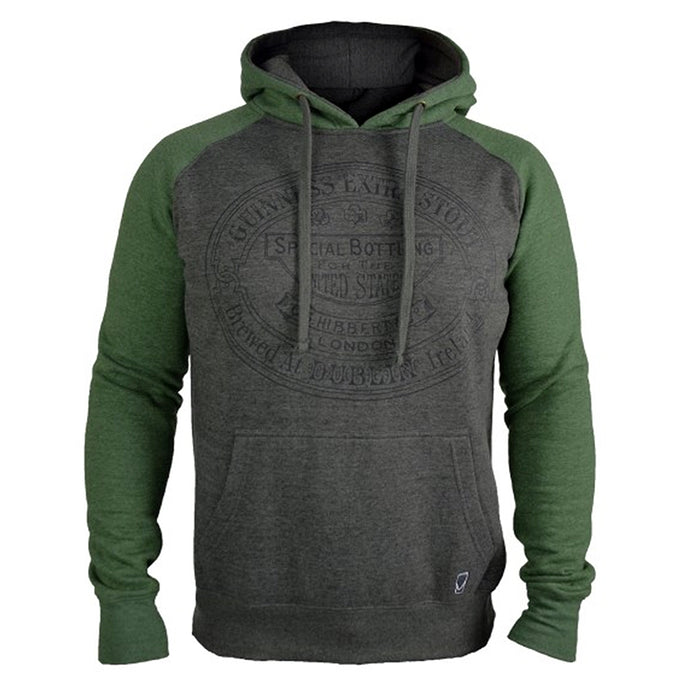 front of grey and green hoodie by guinness