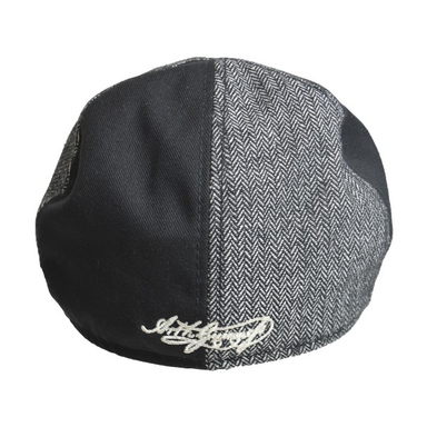 back of grey and black pannelled hat by guinness