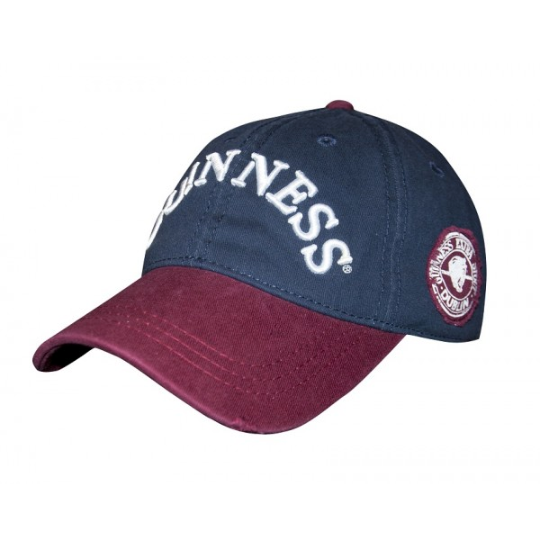 front of guinness navy wine distressed cap hat