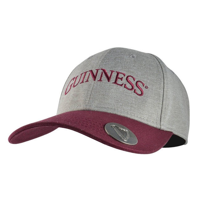 front of bottle opener cap grey and maroon hat by guinness