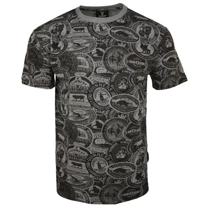 front of premium vintage label grey tee by guinness