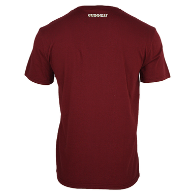 back of  signature burgundy trademark label tee by guinness