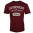 front of signature burgundy trademark label tee by guinness