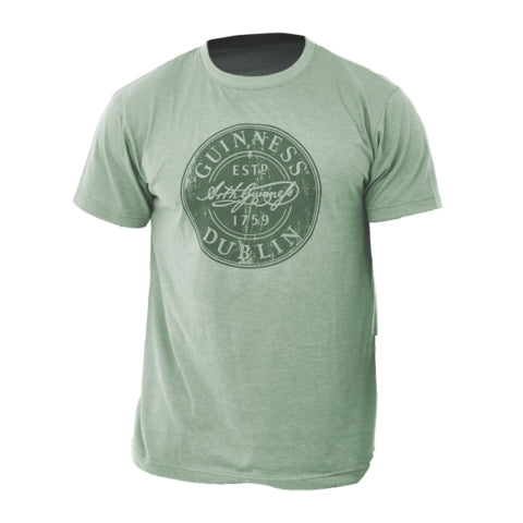 front of guinness tee with bottle cap green