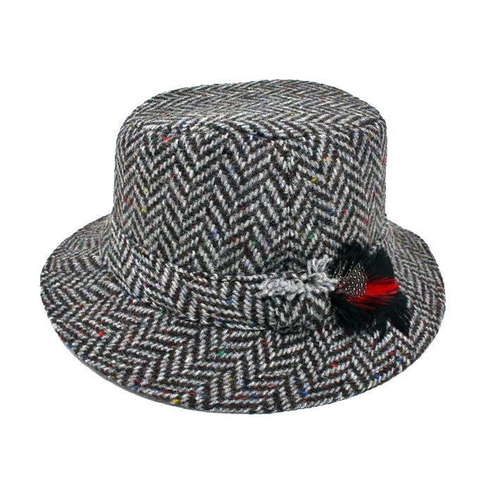 granite grey  traditional wool irish walking hat by hanna hats