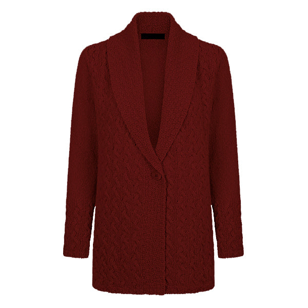 earth red adare cable one button cardigan by irelands eye knitwear
