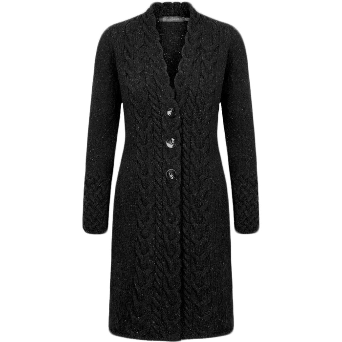 front of charcoal horseshoe cable coat by irelands eye knitwear