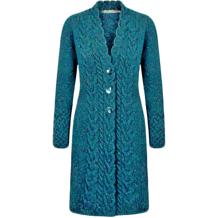 front of teal harbour horseshoe cable coat by irelands eye knitwear