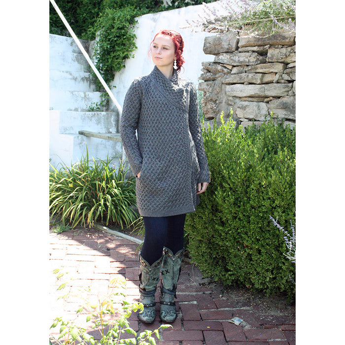 model of kinsealy trellis knit side zip sweater by irelands eye knitwear