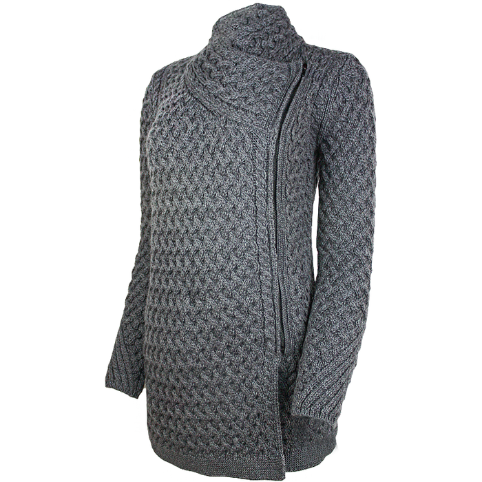 Kinsealy Trellis Knit Side Zip Sweater Made in Ireland