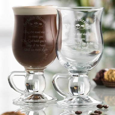 Galway Crystal Irish Blessing Irish Coffee Glasses Set of Two