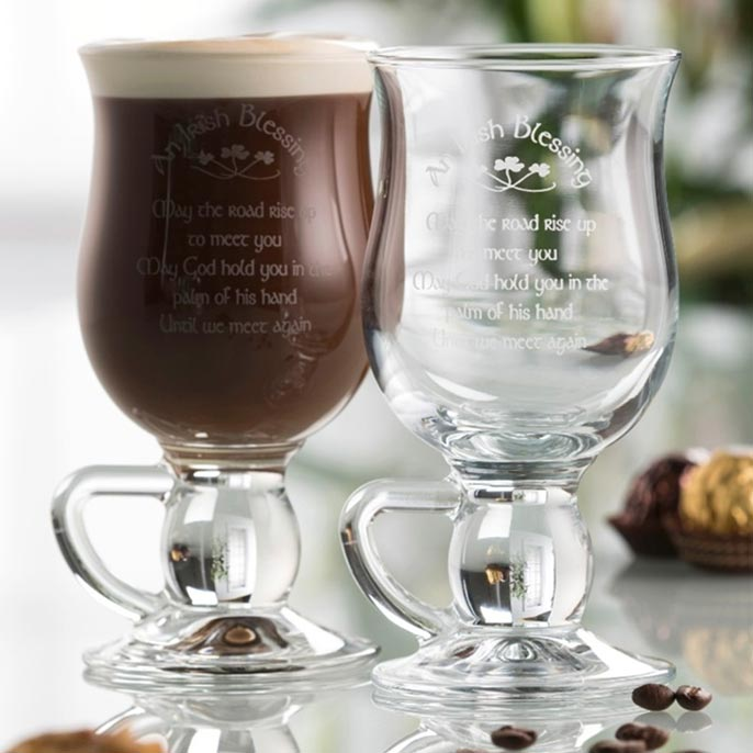 set of two galway irish crystal blessing coffee latte pair