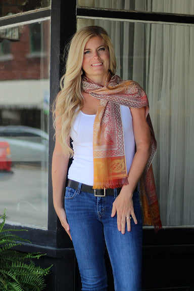 model of orange silk scarf by jimmy hourihan