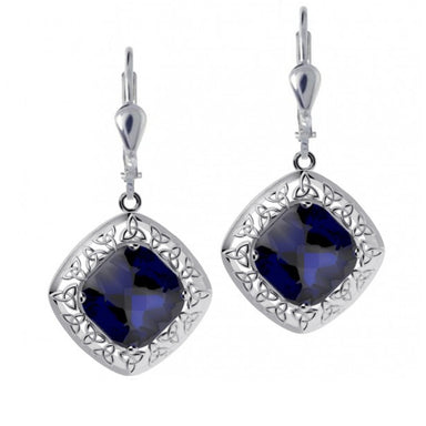 blue trinity knot and quartz doublet earrings by jmh