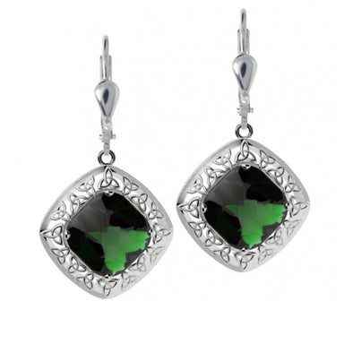 green trinity knot and quartz doublet earrings by jmh