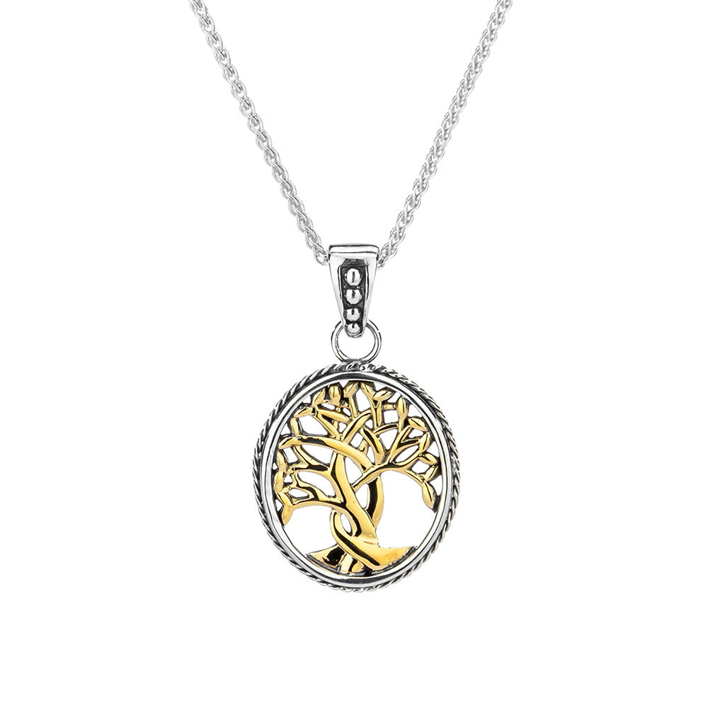 S/Sil + 10K  Tree of Life Small Pendant